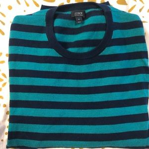 JCrew Merino Crew Stripe Sweater - M - Blue/Green